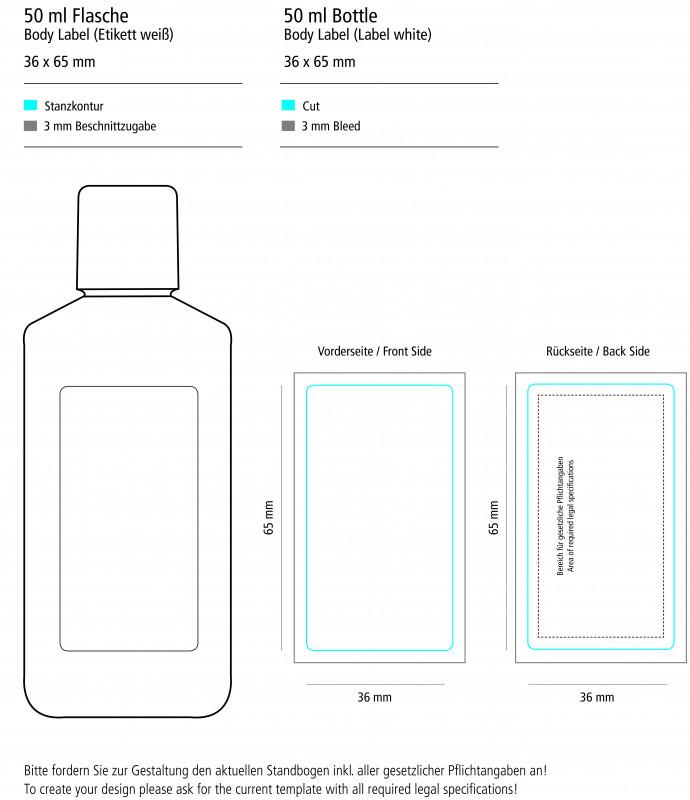 65 Label Template Unique 50 Ml Flasche WeiaŸ Sonnenmilch Lsf 30