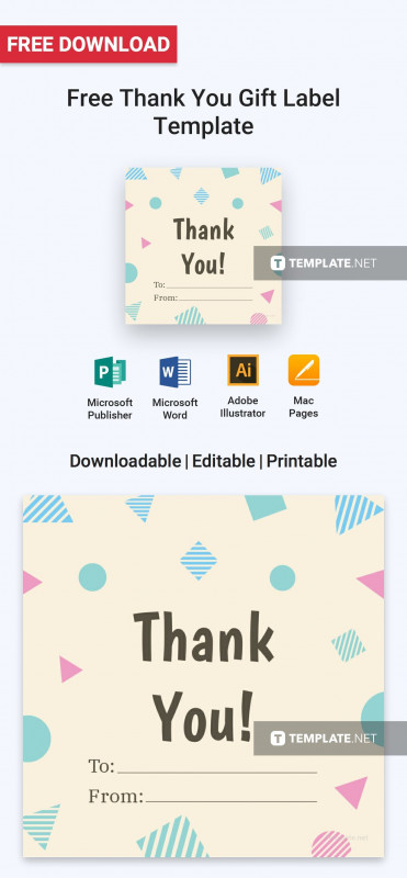 Adobe Illustrator Label Template Awesome Free Thank You Gift Label Label Templates Gift Labels