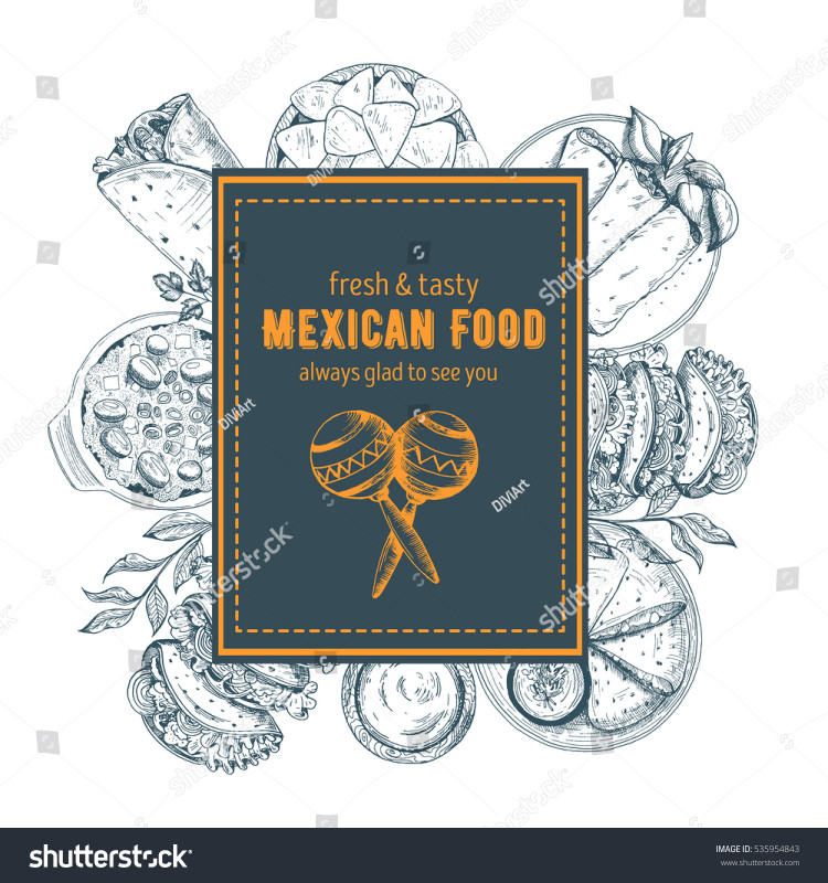 Adobe Illustrator Label Template New Design Template Mexican Restaurant Cafe Eatery Stock Vector