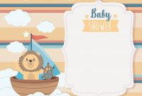 Baby Shower Bottle Labels Template Unique Baby Shower Card with Lion In Boat On Clouds Download Free