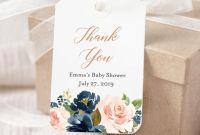 Baby Shower Label Template for Favors New Navy Blush Rose Gold Editable Tag Pink Blue Floral Favor