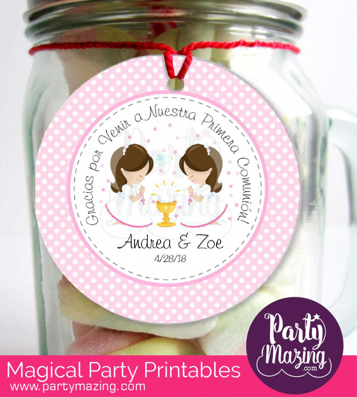 Baby Shower Label Template For Favors New Spanish Editable Etiqueta Primera Comunion Dos Nia±as Twins Thank You Stickers Labels Party Favor Tag Stickers Com1 E182