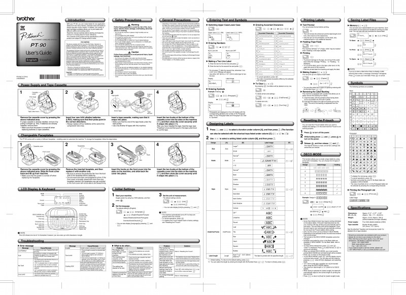 Brother Label Printer Templates New Brother Label Maker Pt90 Users Manual