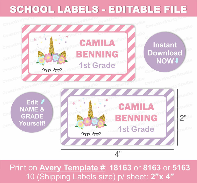 Candy Bar Label Template Awesome Unicorn Name Labels Unicorn School Labels Printable School