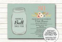 Canning Jar Labels Template Awesome Mason Jar Birthday Anniversary Printable Invitation Having A Ball 25th 30th 40th 50th 60th 70th 80th 90th Instant Download Editable Pdf