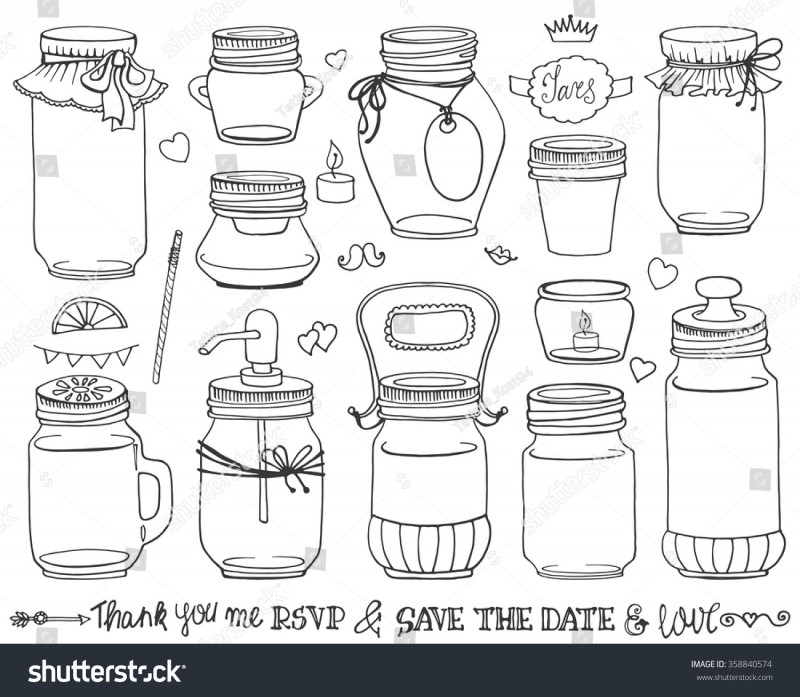 Canning Jar Labels Template Awesome Mason Jars Setweddingromantic Hand Drawing Doodle Stock