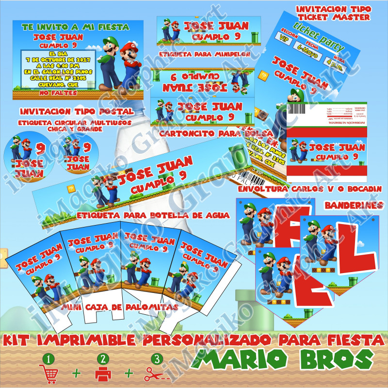 Decorative Label Templates Free Unique Super Mario Bros Printable Bundle Personalized Party Decoration Candy Stickers And Labelsinvitacion Ticketmaster Imagiko Archivo Pdf