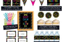Diy Wine Label Template Awesome Printable Neon Glow Birthday Party Pack Banner Cupcake Topper Bottle Wraps Food Tents Favor Tags Black Pink Green Blue Party Decorations