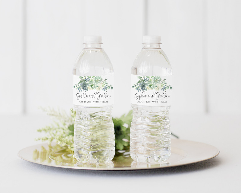 Diy Wine Label Template Unique Succulent Water Bottle Label Printable Dusty Blue Water Bottle Label Wedding Template Diy Floral Greenery Water Bottle Label Download