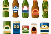Drink Bottle Label Template Awesome Illustration Drinks Collection Beer Cans Bottles Template