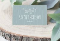 Food Label Template for Party New Wedding Place Cards Printable Rustic Dusty Blue Wedding