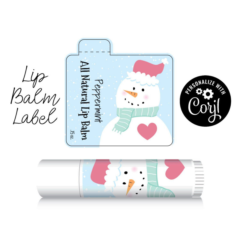 Free Chapstick Label Template Unique Lip Balm Label Snowman Edit Personalize Customize In