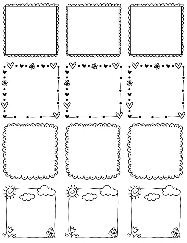 Free Label Border Templates Awesome Frames Doodle Borders Doodle Frames Bullet Journal