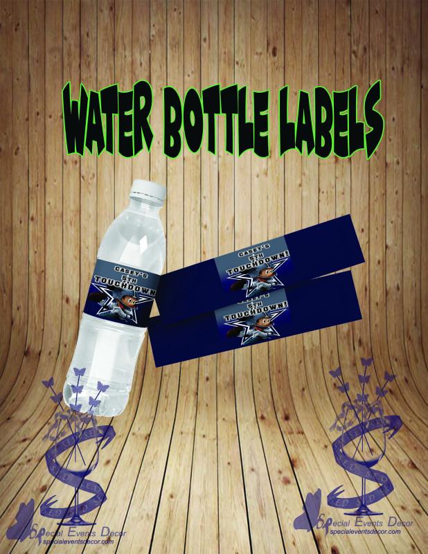 Free Online Address Label Templates New Water Bottle Labels Drink Labels Cowboys Party Favors Cowboys Bottle Labels Template Custom Printable Labels Personalized Bottle Labels