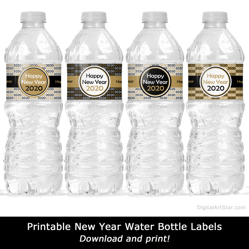 Free Printable Water Bottle Label Template Awesome 2020 New Years Eve Party Water Bottle Labels Digital Art Star