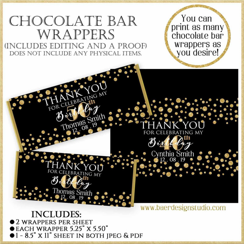Hershey Labels Template Unique Printable Wrapper40th Birthday Chocolate Bar Wrappers