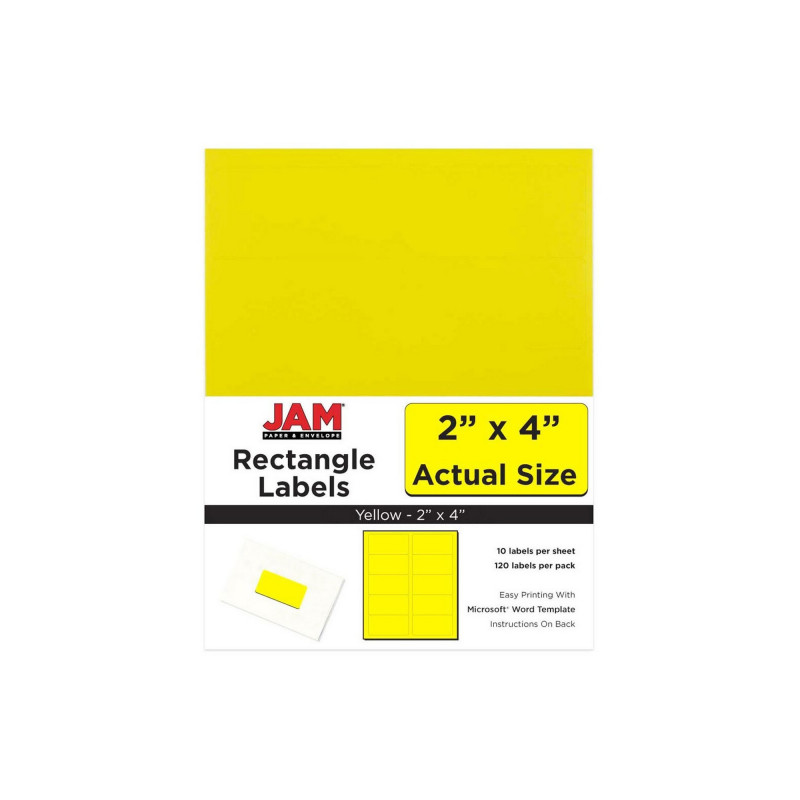Label Template 4 Per Page Unique Jam Paper Mailing Labels 2 X 4 120ct Yellow Products