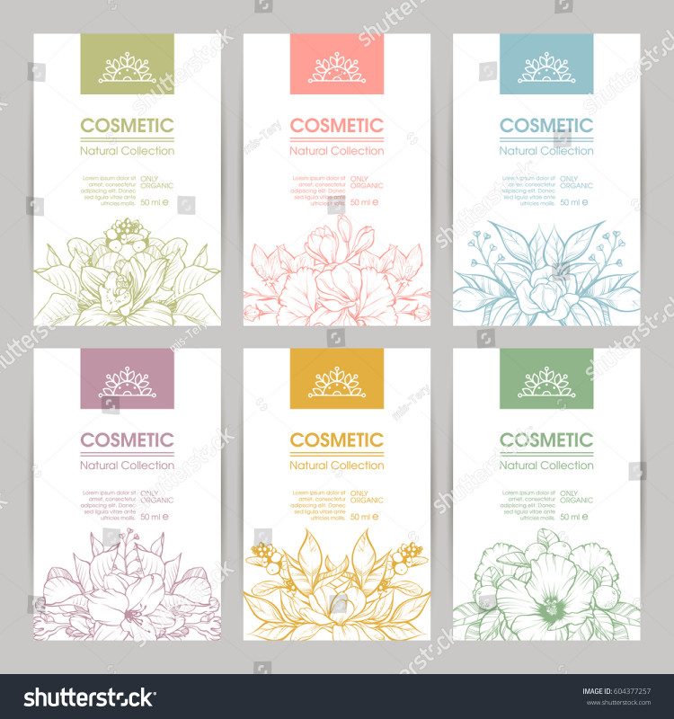 Mailing Address Label Template New Vector Set Templates Packaging Cosmetic Label Stock Vector