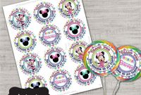 Minnie Mouse Water Bottle Labels Template New Minnie Mouse Lollipop Labelminnie Lollipop Labellollipop