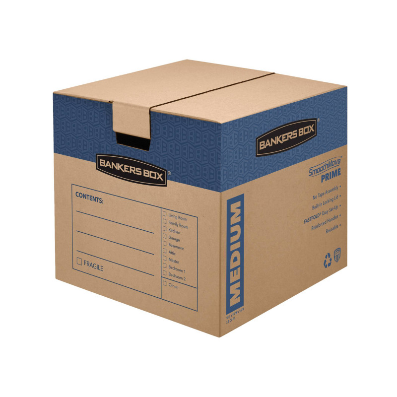 "Moving Box Label Template Awesome Bankers Boxa Smoothmovea""¢ Prime Moving Boxes Small 12 X 12 X 16 85 Recycled Kraft Pack Of 10 Item 776150"