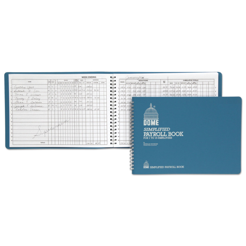 Panasonic Phone Label Template Awesome Simplified Payroll Record Light Blue Vinyl Cover 7 1 2 X 10 1 2 Pages