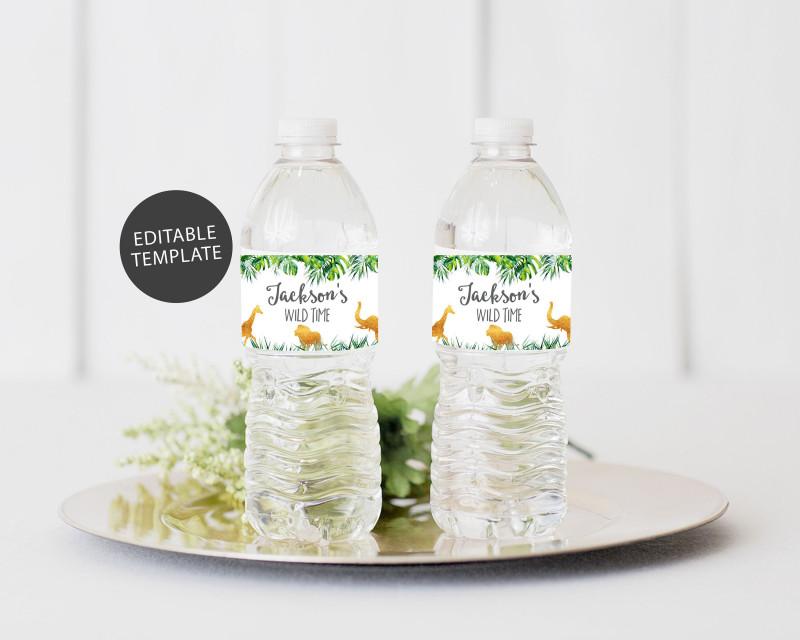 Printable Water Bottle Labels Free Templates New Safari Water Bottle Label Template Editable Water Bottle