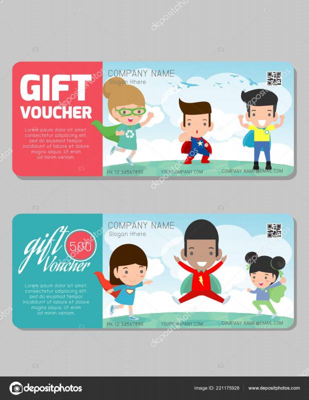 Superhero Water Bottle Labels Template New Gift Voucher Template Modern Pattern Child Concept Voucher