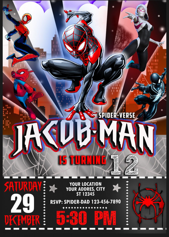 Superhero Water Bottle Labels Template Unique Spider Man Into The Spider Verse Birthday Invitation