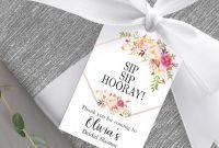 Template for Bottle Labels Unique Bridal Shower Favor Tag Printable Sip Sip Hooray Tag