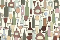 Template for Wine Bottle Labels Unique Wine Bottle and Wine Glass Seamless Pattern Drink Wine Bar