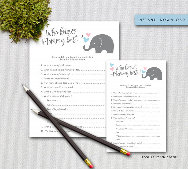 Baby Shower Menu Template Free Unique Printable Baby Shower Game Who Knows Mommy Best Little Peanut Pink And Blue Full Page Or Half Page Instant Download 90205