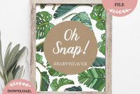 Baby Shower Menu Template Unique Tropical Leaves Oh Snap Baby Shower Hashtag Instagram Table