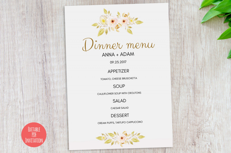Blank Dinner Menu Template Awesome Dinner Menu Pdf Template Diy Wedding Dinner Menu Card Yellow Watercolor Flowers Editable Diy Template Wedding Printable Instant Download