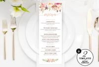 Blank Dinner Menu Template New Printable Floral Menu Template Printable Wedding Menu