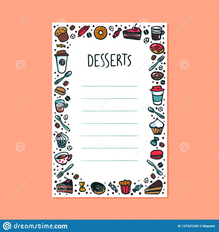 Blank Restaurant Menu Template New Desserts Menu Template Colorful Doodle Style Coffee Cups