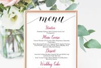 Bridal Shower Menu Template Awesome Printable Wedding Menu Card Poster Elegant Editable Dinner Reception Menu Card Try Before You Buy Digital Download