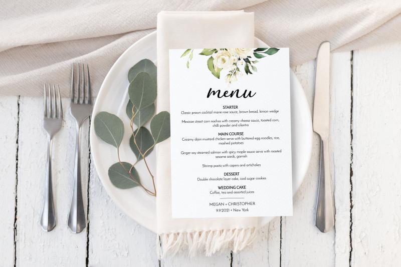 Bridal Shower Menu Template New Cream Rose Wedding Menu Template Editable Wedding Menu Card Instant Download Watercolor Floral Greenery Gold Boho Corjl E001
