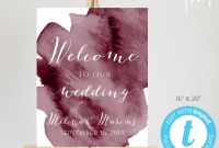 Bridal Shower Menu Template Unique Burgundy Watercolor Wedding Welcome Sign Template Welcome