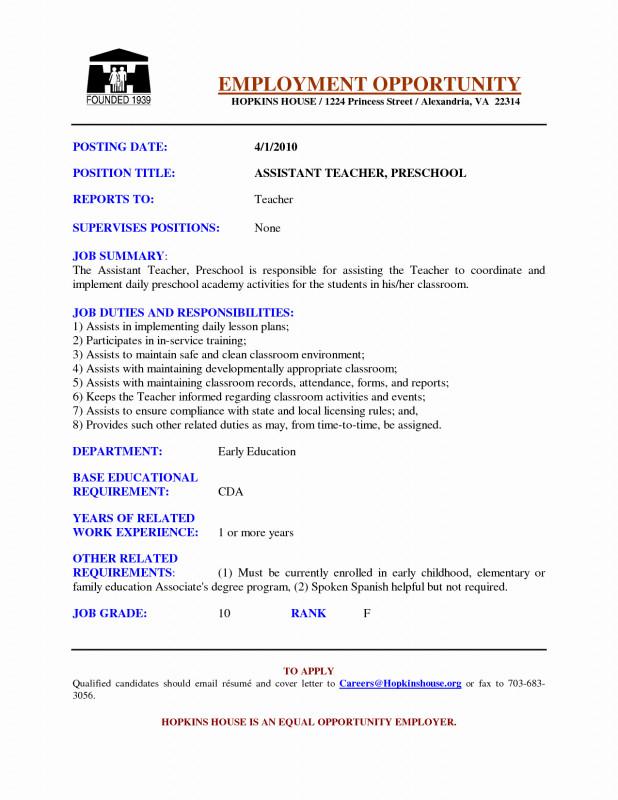 Daycare Menu Template Unique 27 Preschool Teacher Job Description for Resume Snappygo Com