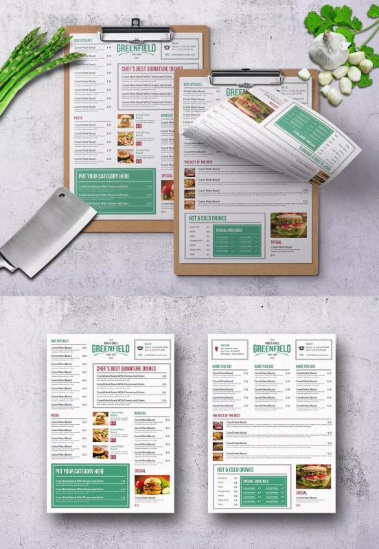 Digital Menu Board Templates Unique Elegant Modern Menu Template Psd A4 300 Dpi High