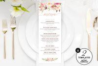 Diner Menu Template Awesome Printable Floral Menu Template Printable Wedding Menu