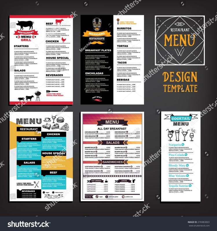 Editable Menu Templates Free New Restaurant Cafe Menu Template Design Food Stock Vector