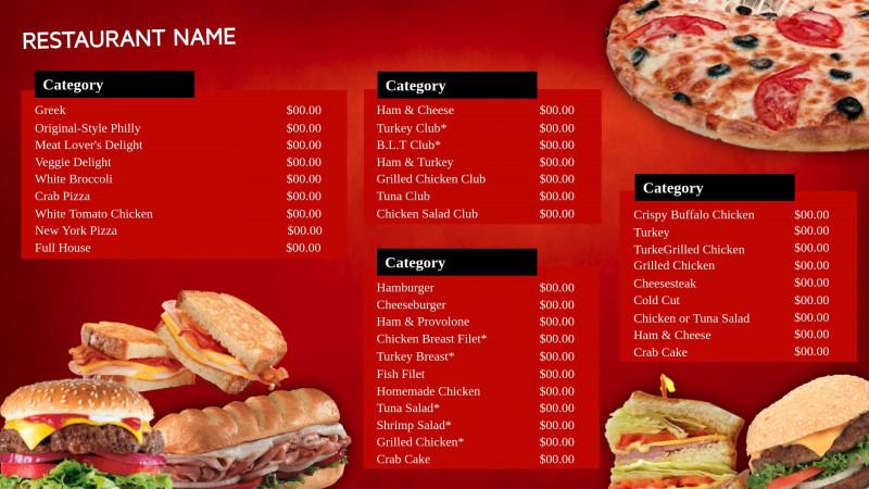 Fast Food Menu Design Templates New Professional Digital Signage Templates Signagecreator