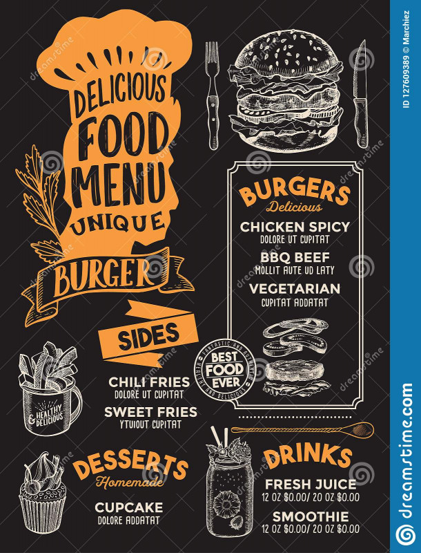 Food Truck Menu Template New Burger Food Menu Template For Restaurant With Chefs Hat