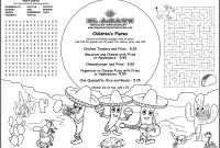 Free Printable Restaurant Menu Templates New Childrens Menus Kids Coloring Menus for Restaurants