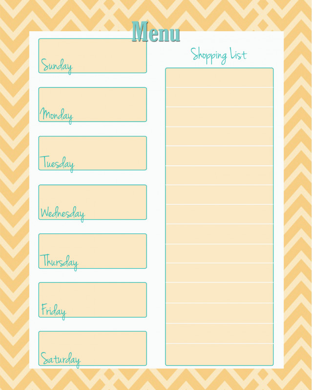 Menu Planner With Grocery List Template New 45 Printable Weekly Meal Planner Templates Kittybabylove Com