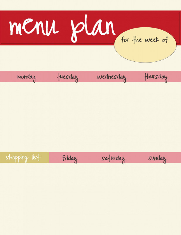 Menu Template For Pages Awesome Weekly Menu Template Google Docs Dinner Printable Free Word