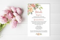 Rehearsal Dinner Menu Template New Pin By Elegant On Coral Wedding Details Card Floral