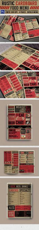 School Lunch Menu Template Awesome Rustic Cardboard Bifold Menu Food Menus Print Templates