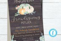 Thanksgiving Menu Template Printable New Editable Rustic Friendsgiving Potluck Invitation Template